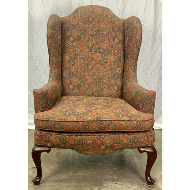 Queen Anne Vintage Mahogany Frame Chippendale Style Upholstered Wingback Chair For Sale - Image 3 of 11