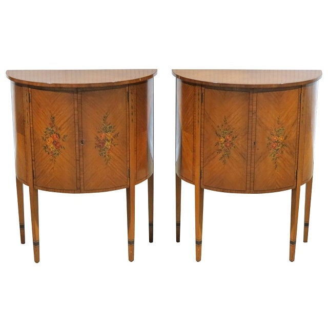 Adams Style Paint Decorated Demilune Tables - Pair - Image 1 of 4
