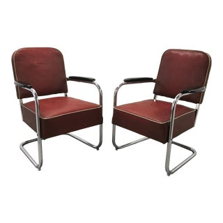 Mid-Century Kem Weber by Lloyd Manufacturing Cantilever Chrome Chairs - A Pair