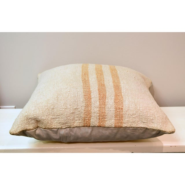 Boho Chic Hand Woven Cream With Gold Stripes Kilim Wool Hemp Pillow For Sale - Image 3 of 5