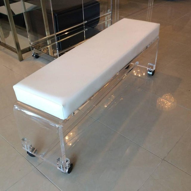 Lucite White Leather Waterfall End of Bed Bench Seat - Image 5 of 10