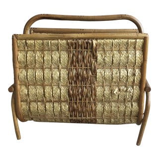 1960s Boho Chic Woven Magazine Holder For Sale
