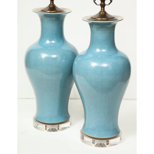 Crackle Glazed Blue Vase Lamps - A Pair For Sale - Image 10 of 13