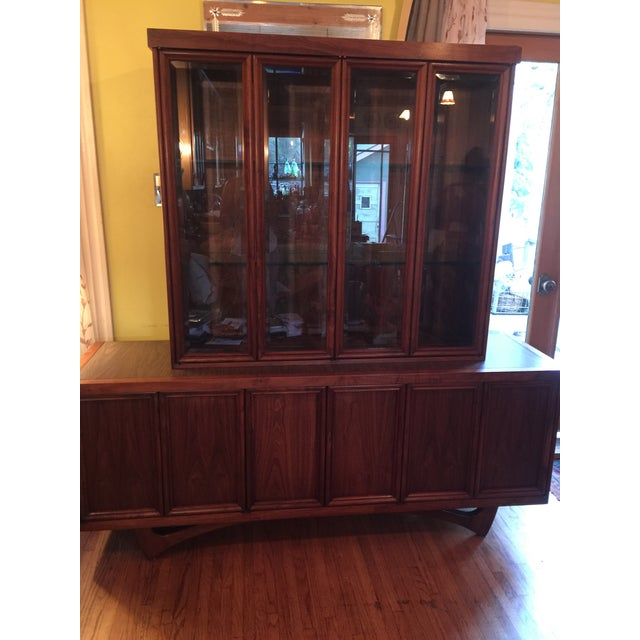 Brown 1960s Mid-Century Modern Walnut Credenza Hutch For Sale - Image 8 of 13