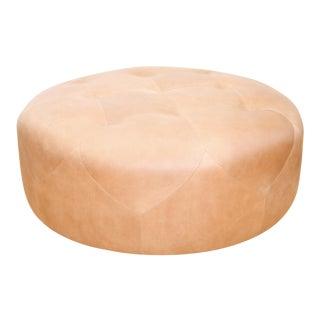 Round Full-Aniline Leather Ottoman