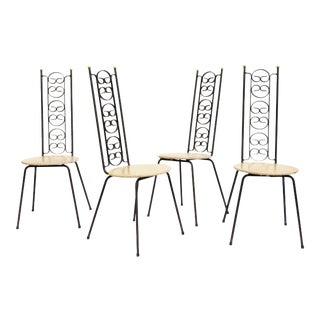 Mid Century Arthur Umanoff Wrought Iron Chairs - Set of 4 For Sale