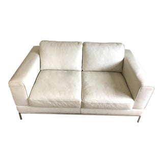 White Leather Contemporary Loveseat
