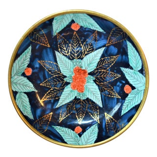 Vintage Asian Indigo and Turquoise Bowl Encased in Brass For Sale