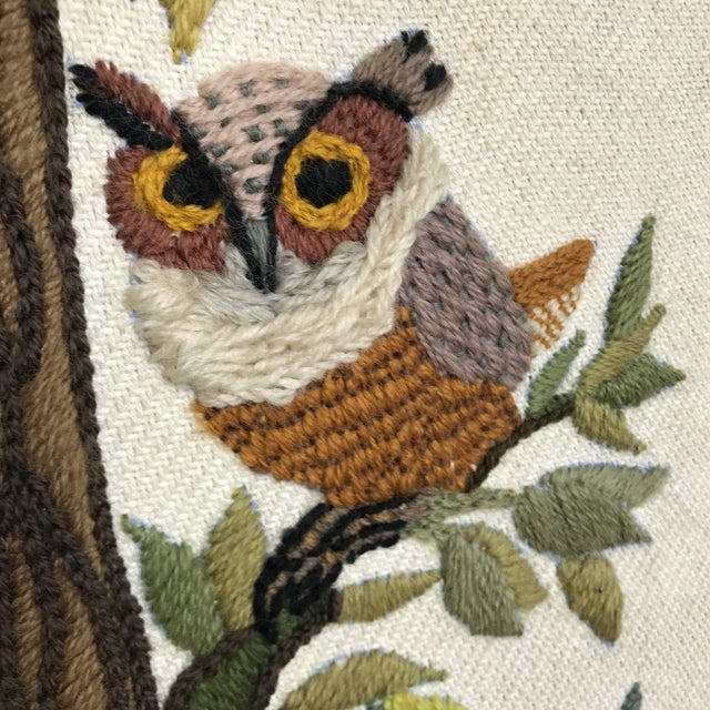 Mid-Century Embroidered Owl Artwork - Image 3 of 8