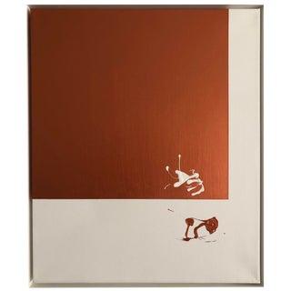 "Axel Abbott Original Acrylic Painting ""Copper Contrast Splatter"" For Sale"