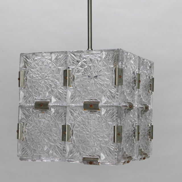 Mid-Century Modern Mid Century Kalmar Glass Cube Pendant Light For Sale - Image 3 of 8