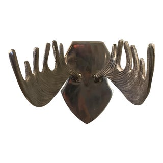 Modern Aluminum Mounted Antlers Wall Sculpture For Sale