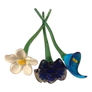 Art Glass Flower Figurines - Set of 3