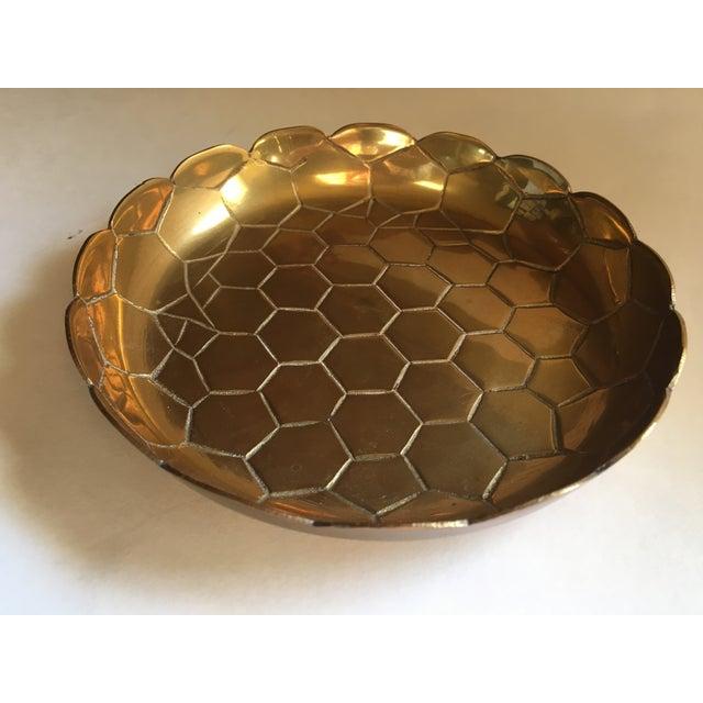 Vintage Brass Octagon Pattern Bowl - Image 2 of 6