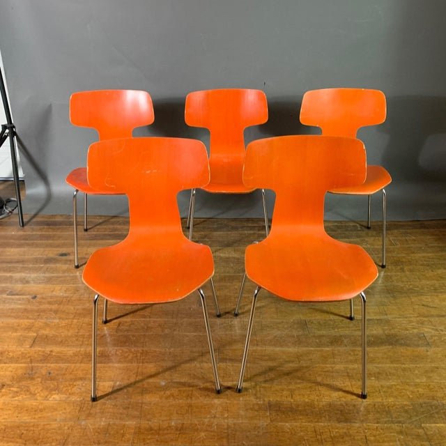 1970s Vintage Arne Jacobsen For Fritz Hansen Dining Chairs-Set Of 5 For Sale - Image 11 of 11