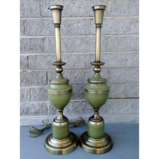 Vintage Rembrandt Brass & Green Enamel Hollywood Regency Table Lamps With Diffuser - a Pair For Sale - Image 12 of 13