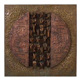 A Square Brutalist Mixed Metal Wall Panel Sculpture 1970s For Sale