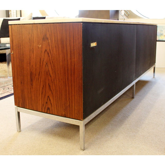 Mid-Century Modern Florence Knoll for Knoll Int. Rosewood Marble Credenza, 1960s For Sale - Image 9 of 12