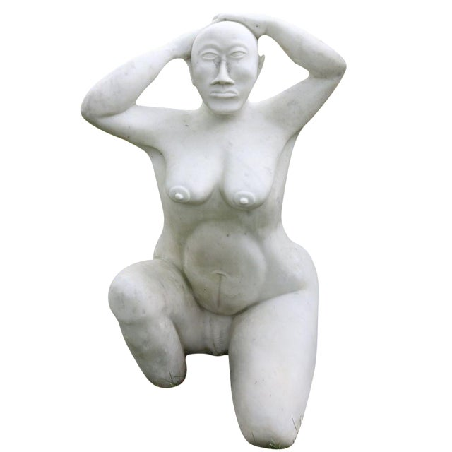 White Marble Nude Sculpture - Image 1 of 11