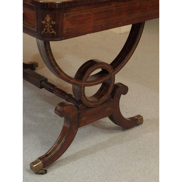Brown Antique English Regency Rosewood Writing Table, Saber Legs, Brass Inlay For Sale - Image 8 of 10