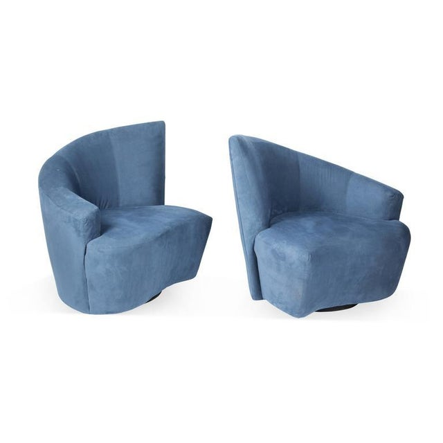 Modern 1990s Vintage Vladimir Kagan for Weiman Preview Bilbao Swivel Lounge Chairs- a Pair For Sale - Image 3 of 8
