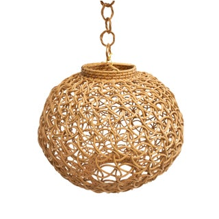 Open Weave Wicker Pendant / Shade For Sale