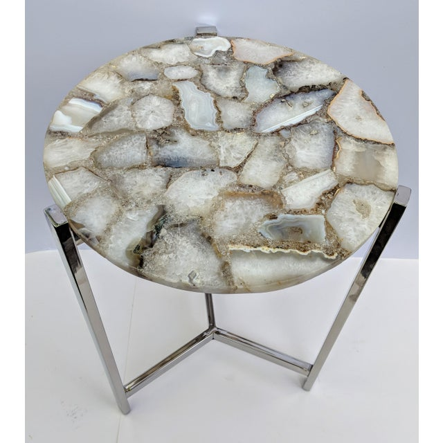 Jonathan Adler Inspired Chrome and Agate Slice Accent Table For Sale - Image 9 of 13