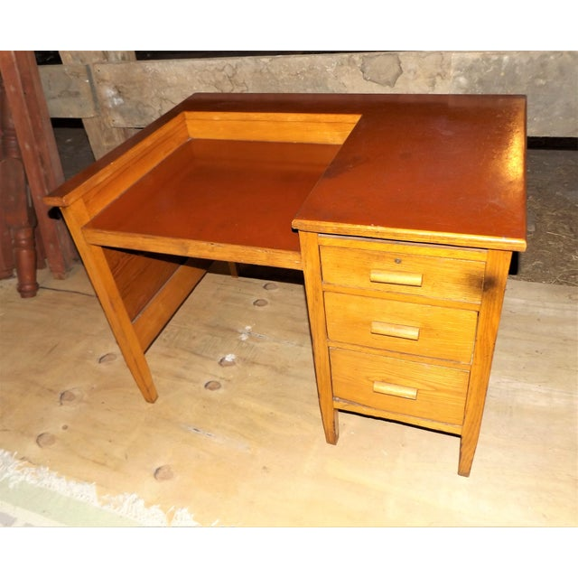 1960s 1960s Rustic Oak Writing Desk For Sale - Image 5 of 10
