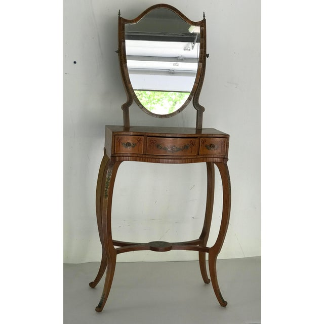 Circa 1790, Sheraton shield shaped mirror hand painted childs vanity desk with swivel mirror. Original hardware...
