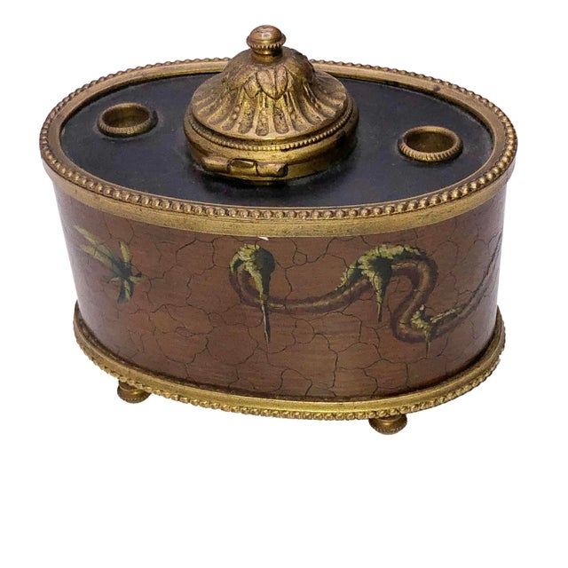 Brown Antique French Chinoiserie Ink Well For Sale - Image 8 of 10