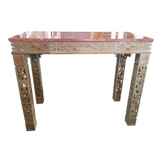 Wood Console Table With Marble Top