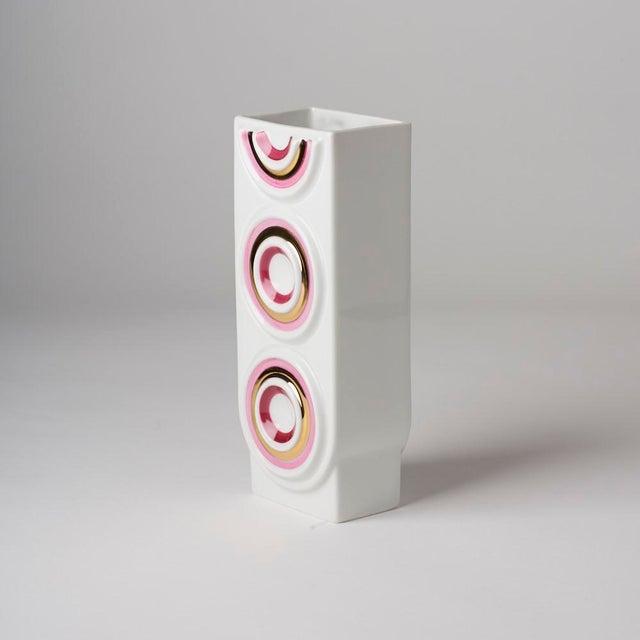Beautiful Op Art Mid Century pink and gold vase. Plankenhammer Flos-Bavaria. Dark pink, light pink and gold circles on...