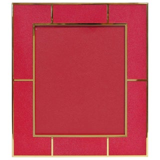 Red Shagreen Gold-Plated Photo Frame For Sale