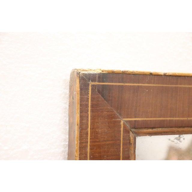 19th Century Italian Charles X Inlay Walnut Wall Mirror For Sale - Image 6 of 9