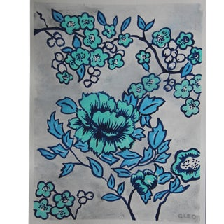 Botanical Floral Chinoiserie Painting by Cleo Plowden For Sale