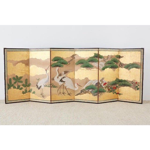 Pair of Japanese Six Panel Meiji Crane Landscape Screens For Sale In San Francisco - Image 6 of 13