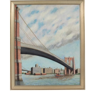 Brooklyn Transfer East River Crossing Oil on Canvas Painting by Frederick Reimers For Sale