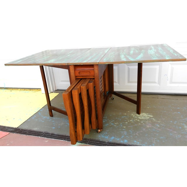 Mid-Century Gateleg Table & Folding Chairs - Set of 4 | Chairish