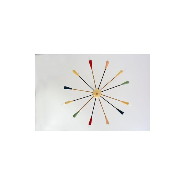 Brass Sputnik Style of Angelo Lelli for Arredoluce Italy Colored Chandelier 1950s For Sale - Image 8 of 11