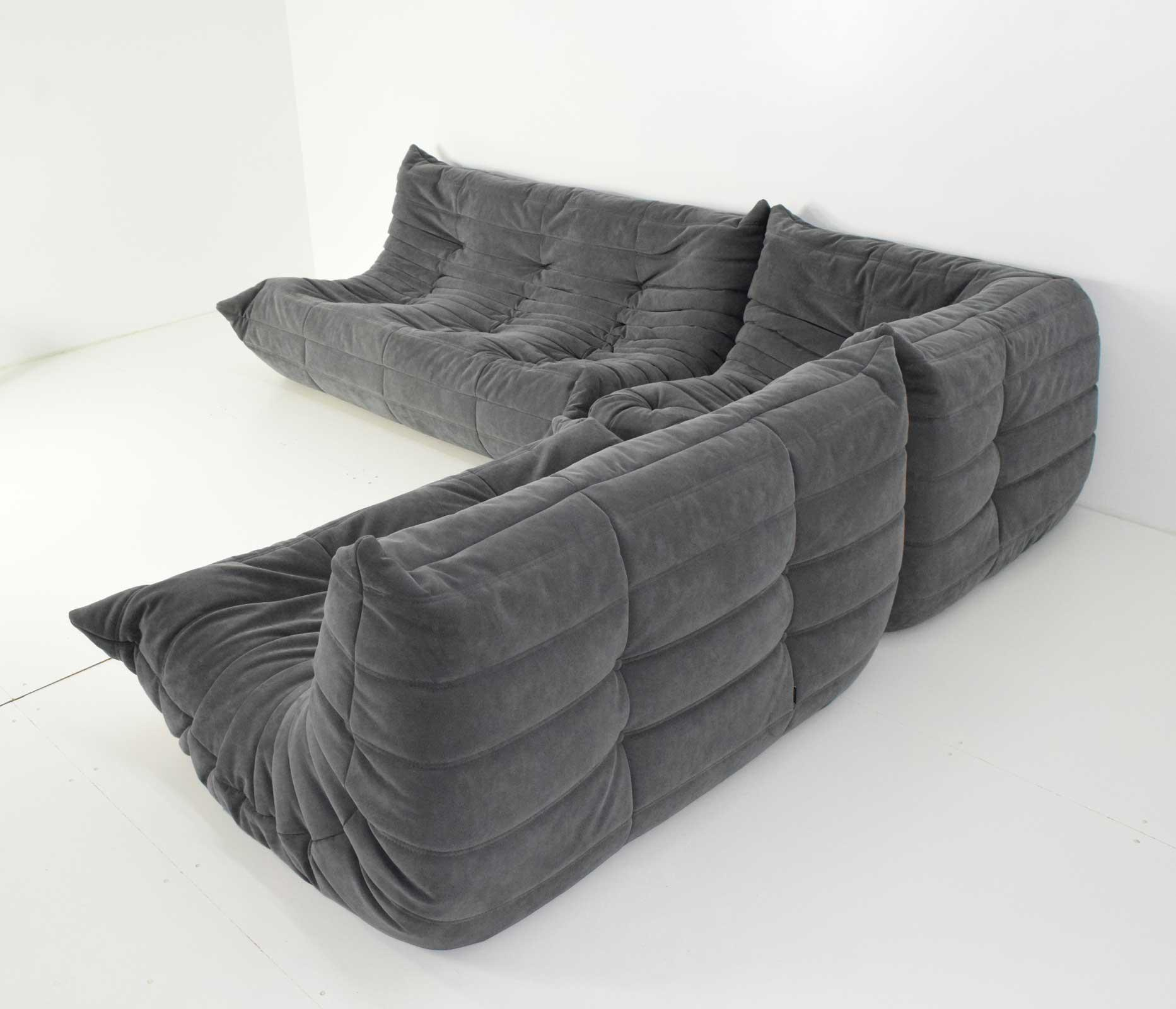 Ligne Roset Togo Sofa In Grey Suede By Michel Ducaroy   Image 4 Of 10