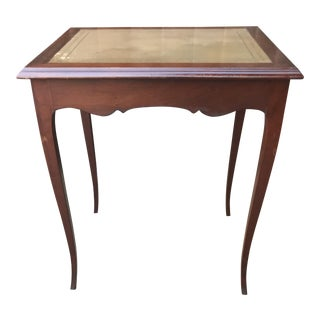 Wooden Leather Top Occasional Table