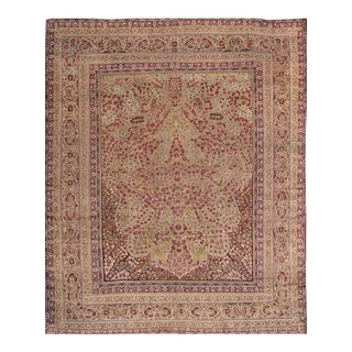Late 19th Century Antique Kerman Wool Rug For Sale