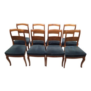 Charles X Walnut Dining Chairs - Set of 8