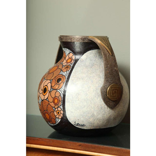 Art Deco Pottery Amphora Vase by Louis Dage For Sale In New York - Image 6 of 10