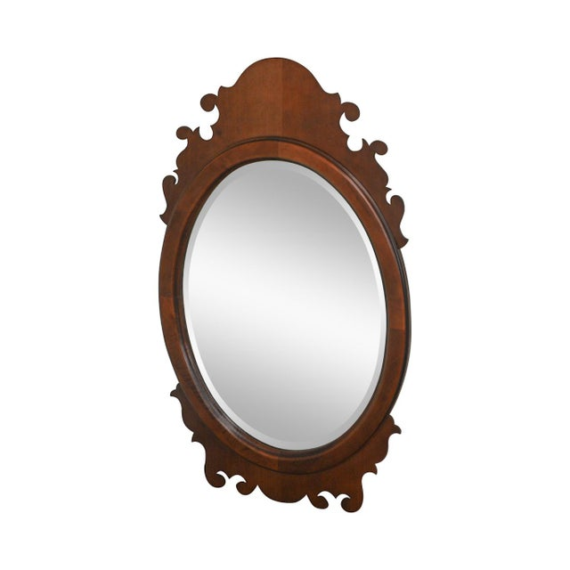Victorian Style Cherry Oval Beveled Wall Mirror For Sale - Image 12 of 12