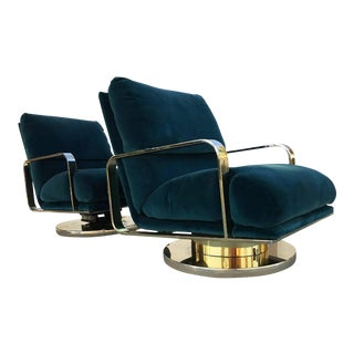 Milo Baughman Brass Base Swivel Lounge Chairs - A Pair