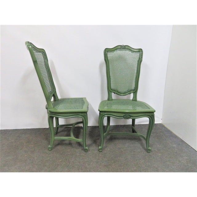 Louis XV Custom Painted Caned Dining Chairs- Set of 6 For Sale - Image 4 of 8
