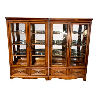 Drexel China Cabinet With Seeded Glass - a Pair For Sale