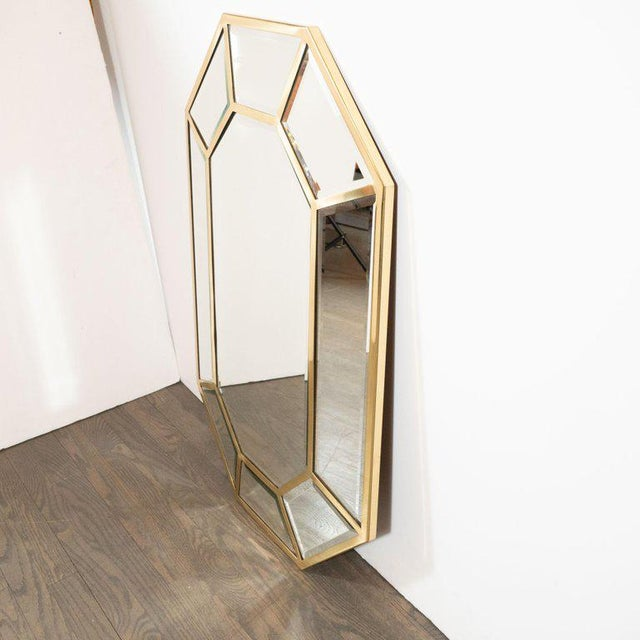 Mid-Century Modern Segmented Octagonal Polished Brass Mirror For Sale - Image 4 of 7