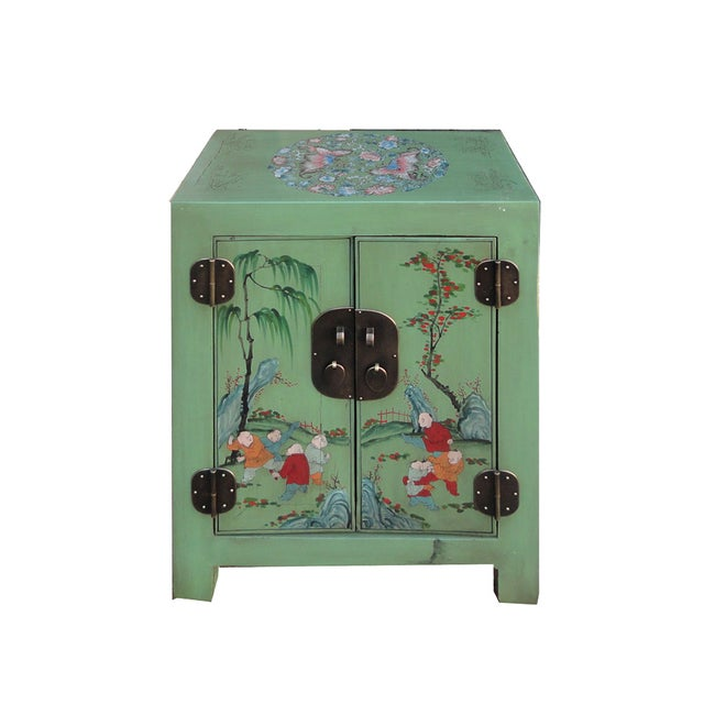 Petite Pastel Green Butterfly Top Nightstand - Image 6 of 7